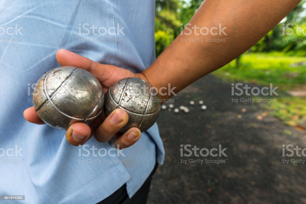 petanque ball,fun and relaxing game stock photo