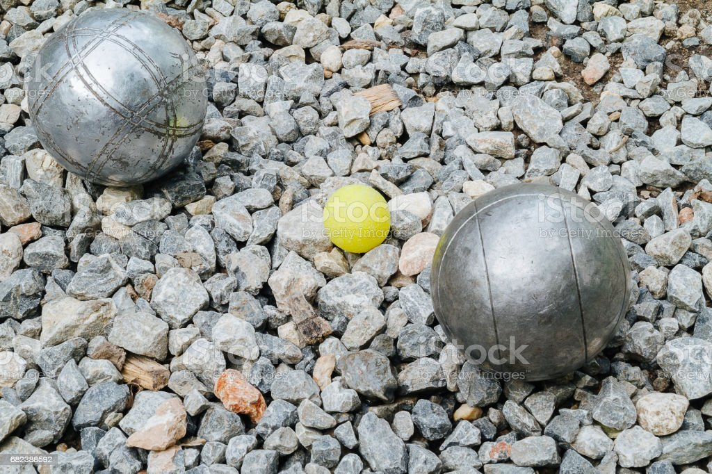 Petanque balls and the yellow wood jack royalty-free stock photo