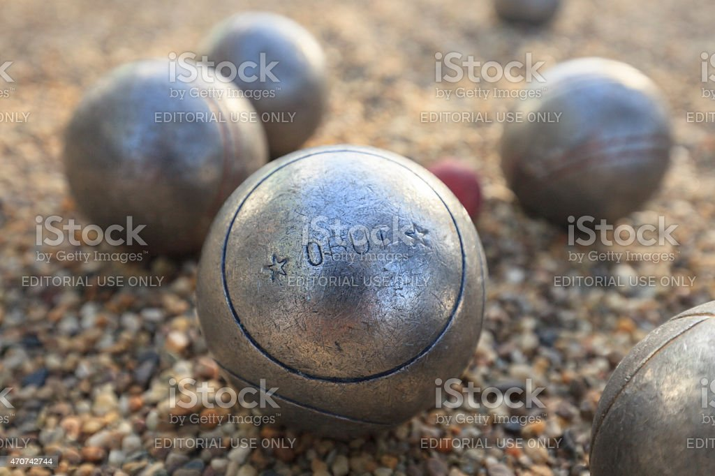 petanque balls of Obut and a small red jack stock photo