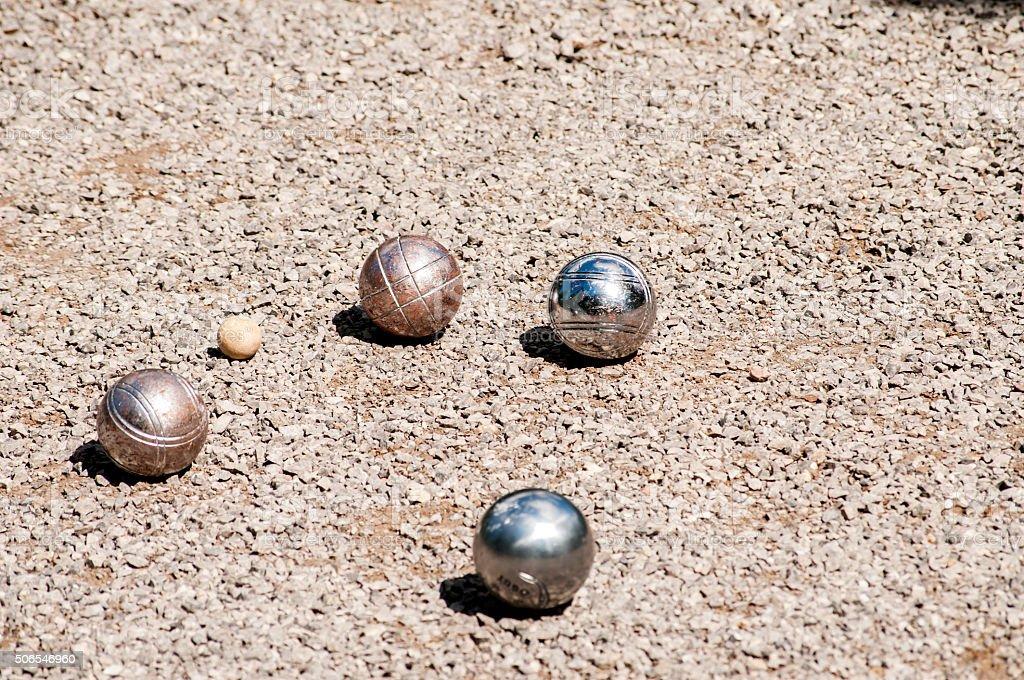 Petanque balls on gravel alley stock photo