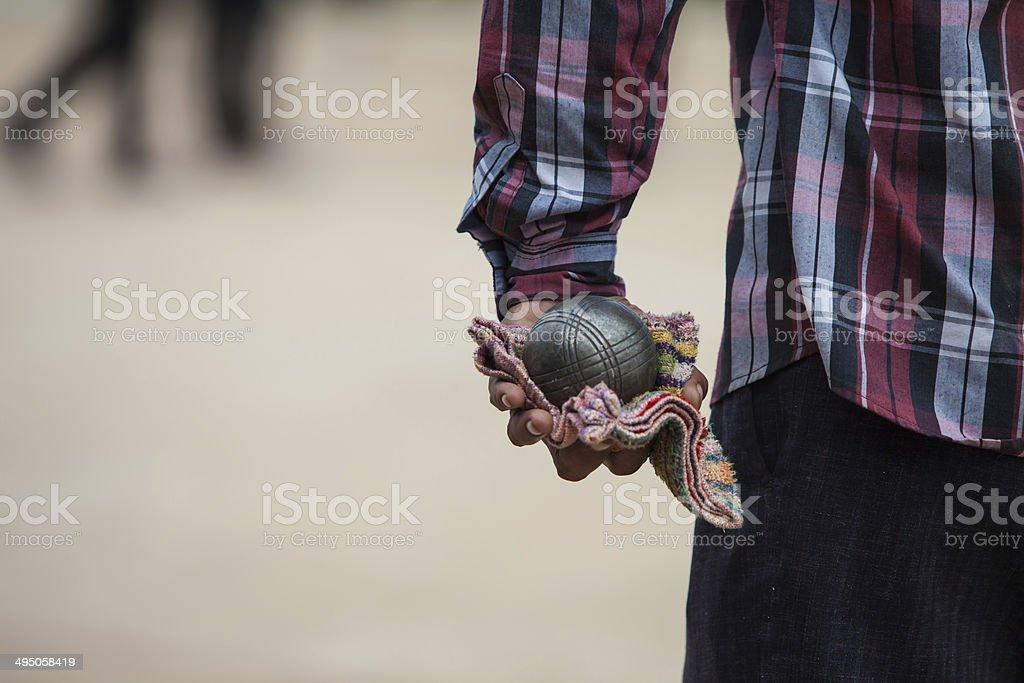 Petanque balls stock photo