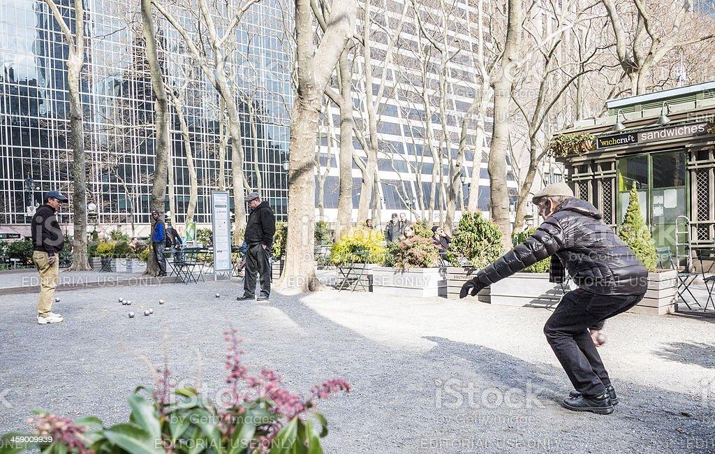 Petanque Bryant Park Manhattan stock photo