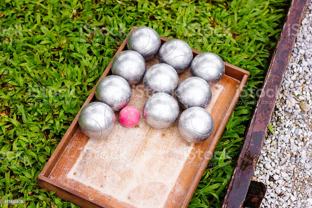 Petanque Metal Balls ready for Playing stock photo