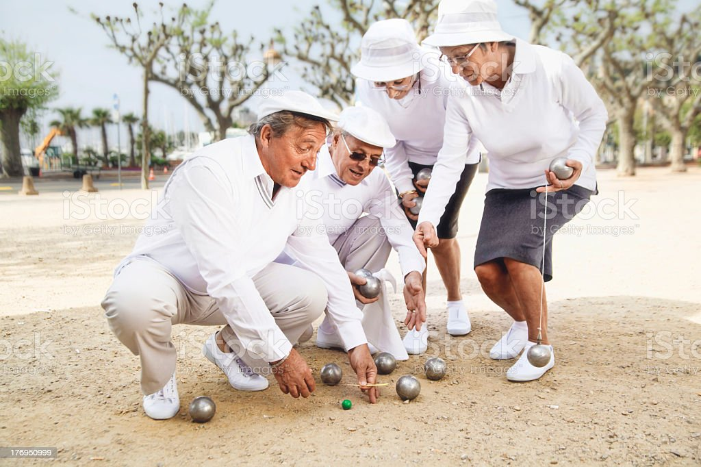 Petanque players stock photo