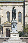 Zagreb, Croatia - October 10, 2018: Monument to the Croatian poet, writer and military general Petar Preradovic in front of the Zagreb Orthodox Cathedral. The monument by sculptor Ivan Rendic was unveiled on May 23, 1895. Text on the pedestal reads: \