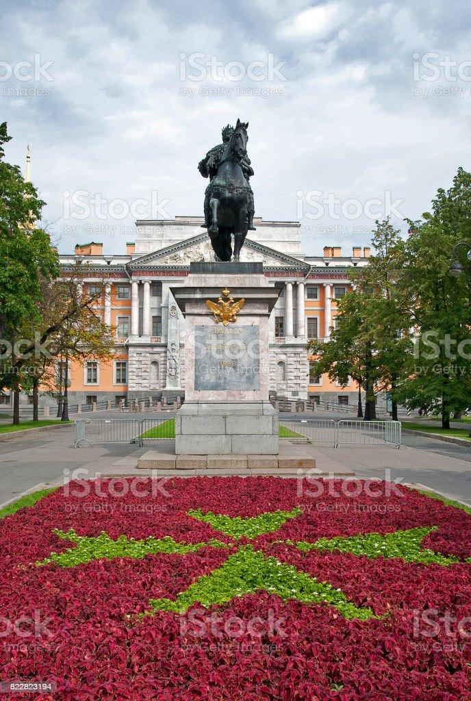 Peter 1 statue at Mihajlovsky Castle, St.Petersberg, Russia stock photo