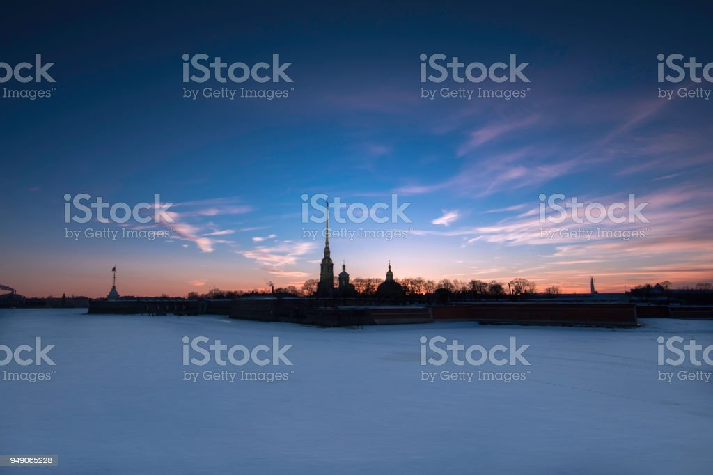 Peter and Paul Fortress at sunset, St. Petersburg stock photo