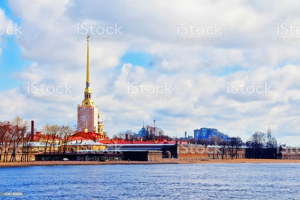 Peter and Paul Fortress on Zayachy Island in Saint Petersburg stock photo