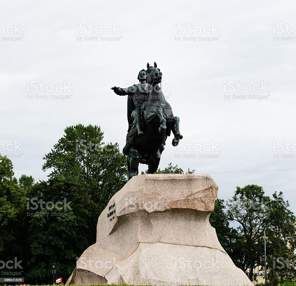 Peter I monument against blue sky. Saint-petersburg, Russia stock photo