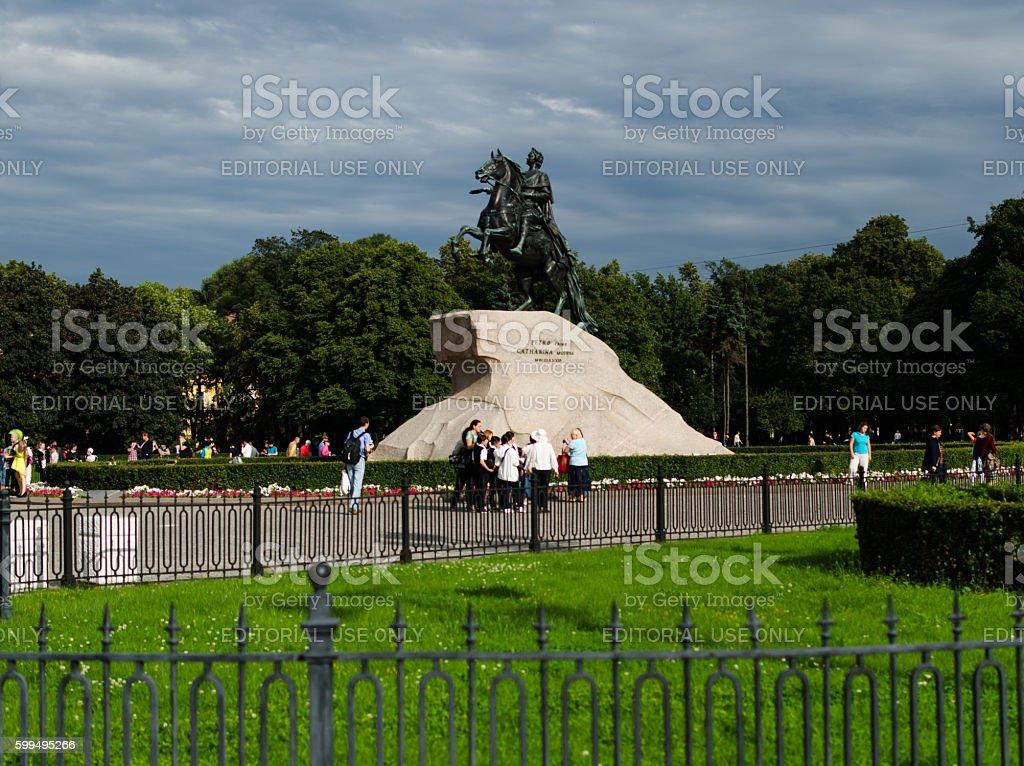Peter I monument against blue sky. Saint-petersburg, Russia. stock photo