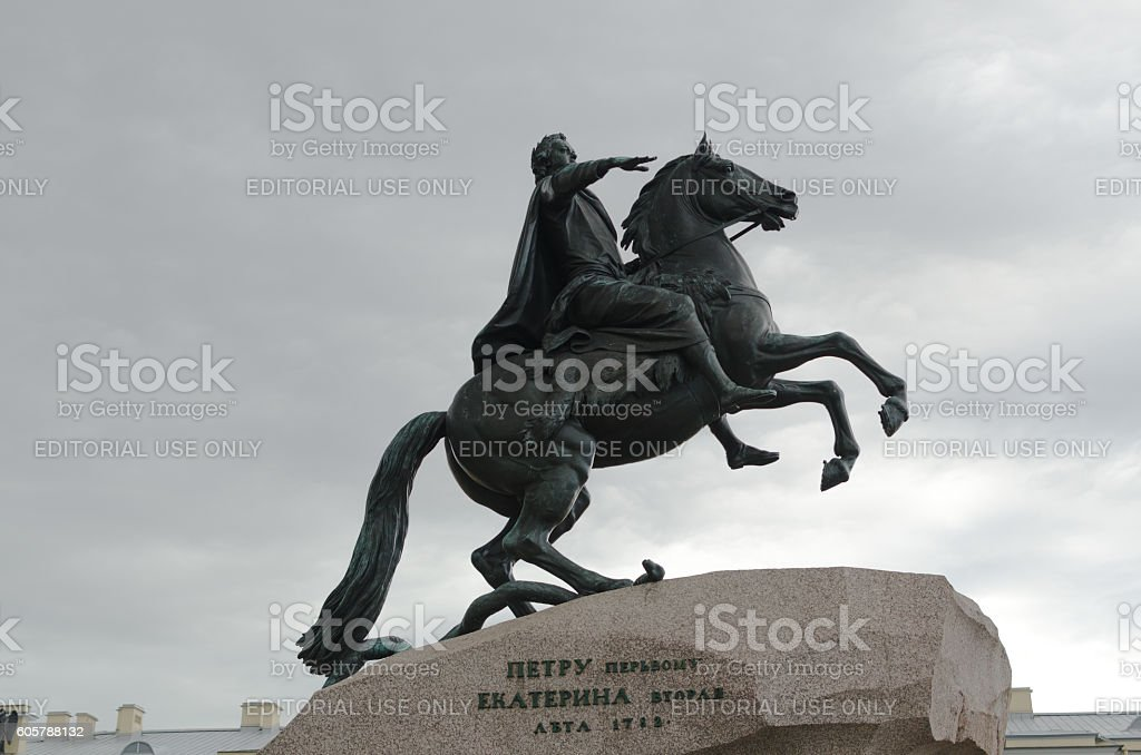 Peter I monument against gray sky. Saint-petersburg, Russia stock photo