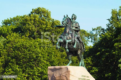 istock Peter I monument. Saint-petersburg, Russia. Peter the Great monument or Bronze Horseman on the Senate Square 1326058907