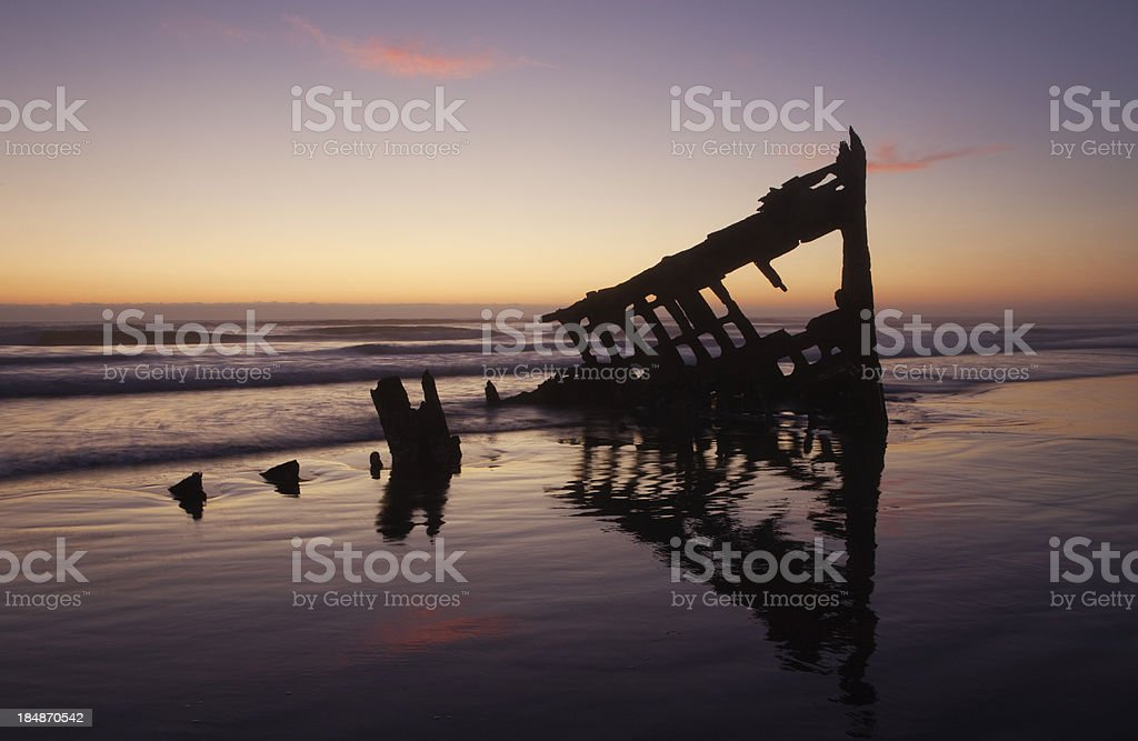 peter iredale at dusk stock photo