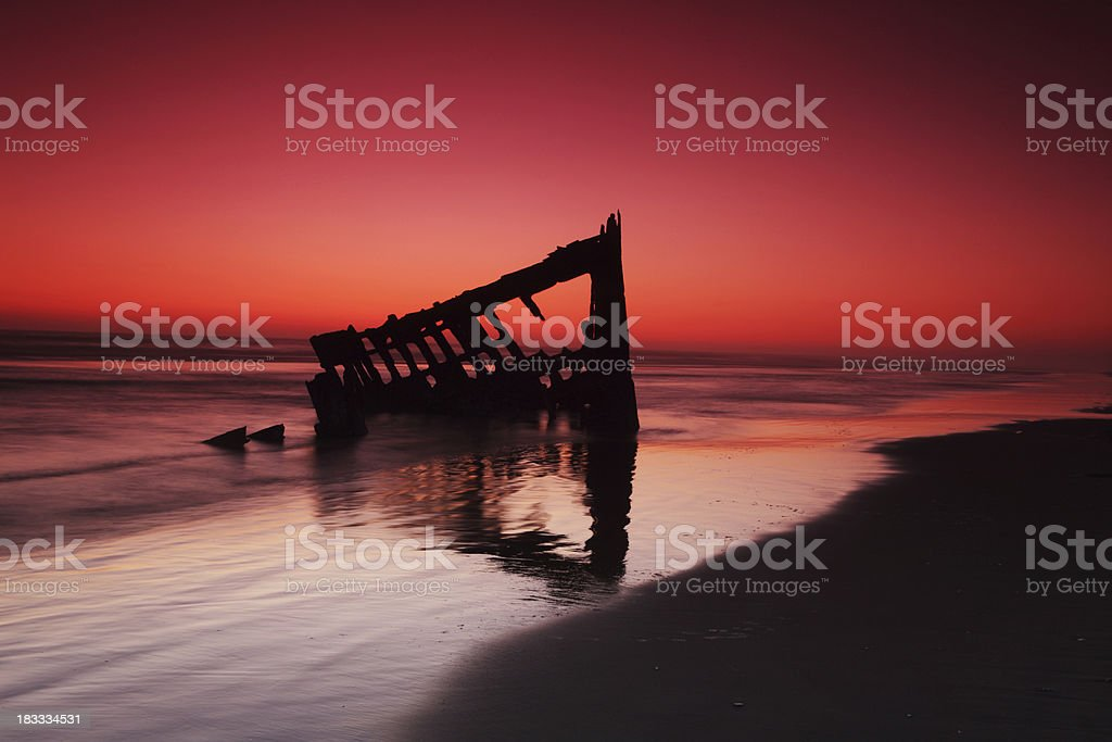 peter iredale at sunset stock photo