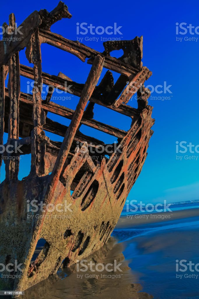 Peter Iredale Ship Wreak Fort Stevens, OR stock photo