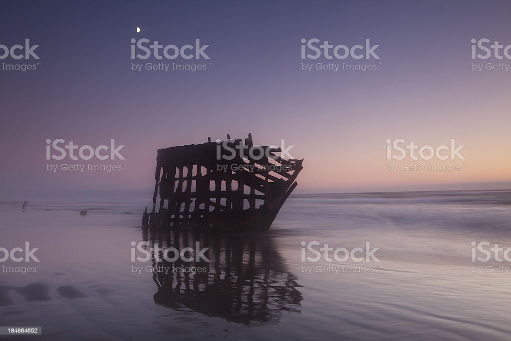 peter iredale under the moon stock photo