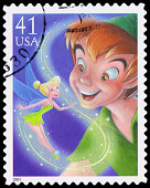 USA Peter Pan and Tinker Bell postage stamp
