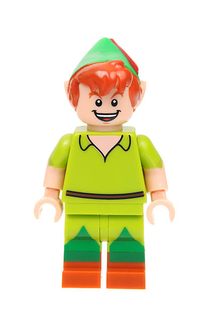 Peter Pan Lego Disney Series 1 Minifigure Adelaide, Australia - May 21, 2016:An isolated shot of a Peter Pan Lego Minifigure from Disney Series 1 of the collectable lego minifigure toys. Lego is very popular with children and collectors worldwide. peter pan stock pictures, royalty-free photos & images