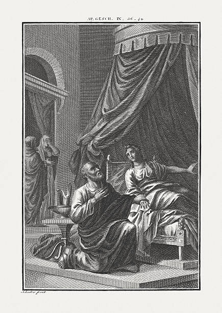 peter raises tabitha (acts 9), copper engraving, published c. 1850 - 大比大 聖經人物 個照片及圖片檔