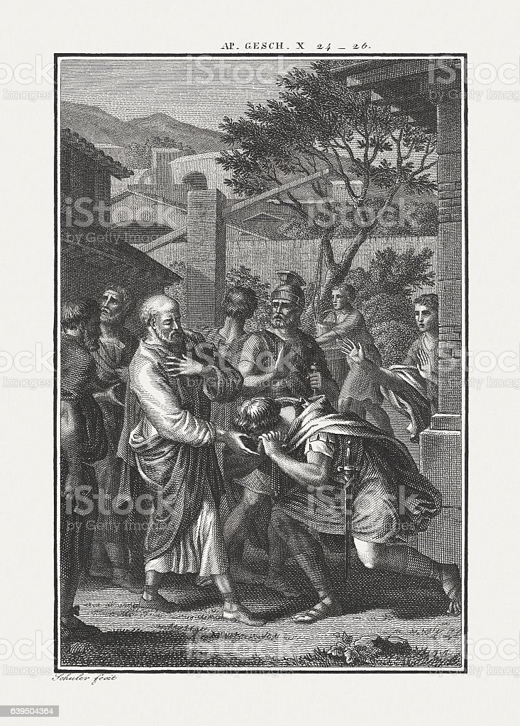 Peter Visits Cornelius (Acts 10), copper engraving, published c. 1850 stock photo