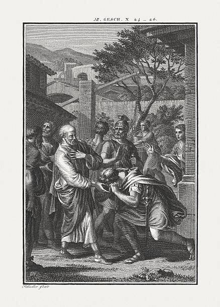 peter visits cornelius (acts 10), copper engraving, published c. 1850 - peter the apostle stock photos and pictures