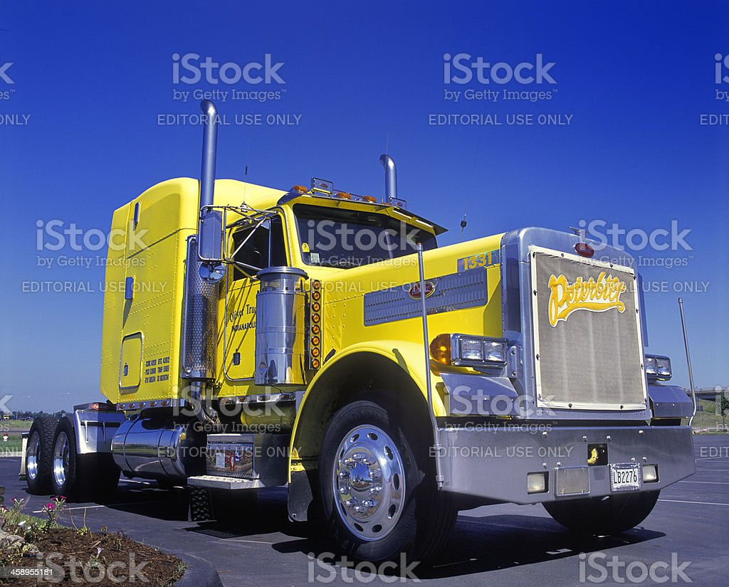 Peterbilt tractor in parking lot stock photo