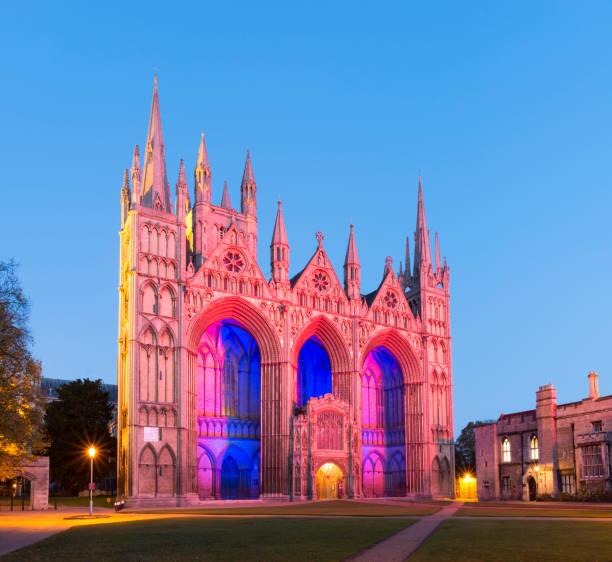Peterborough Cathedral Illuminated at Sunset, United Kingdom stock photo