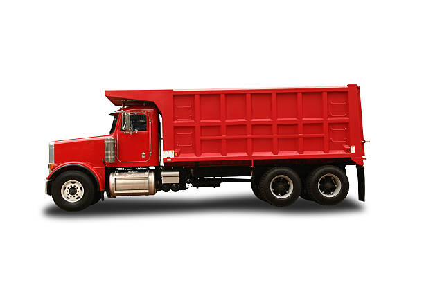 Peterbult red toy dump truck isolated on white background stock photo