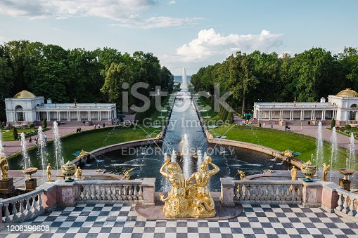 The Peterhof Palace is a series of palaces and gardens located in Petergof, Saint Petersburg, Russia, commissioned by Peter the Great as a direct response to the Palace of Versailles by Louis XIV of France