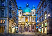Peters Church on Petersplatz. Vienna, Austria. Evening view.