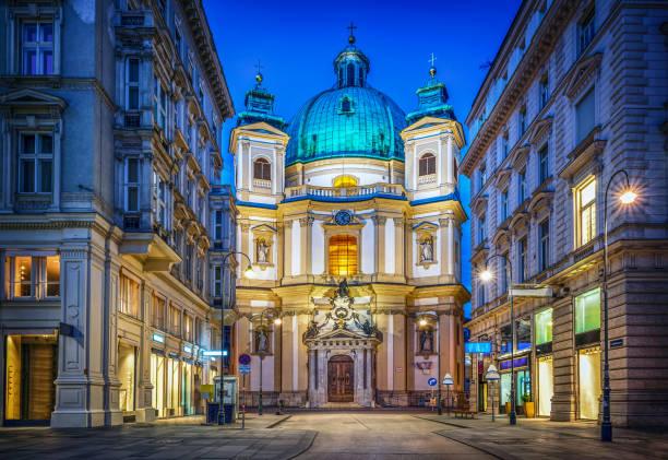 Peters Church on Petersplatz. Vienna, Austria. Evening view. stock photo