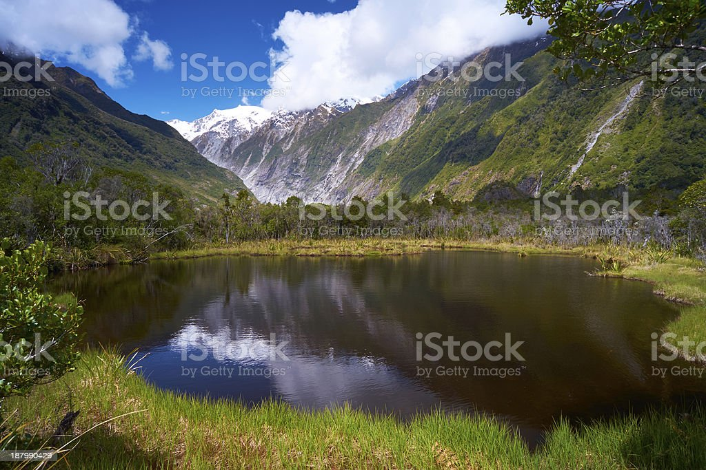 Peters Pool At Franz Josef Glacier stock photo