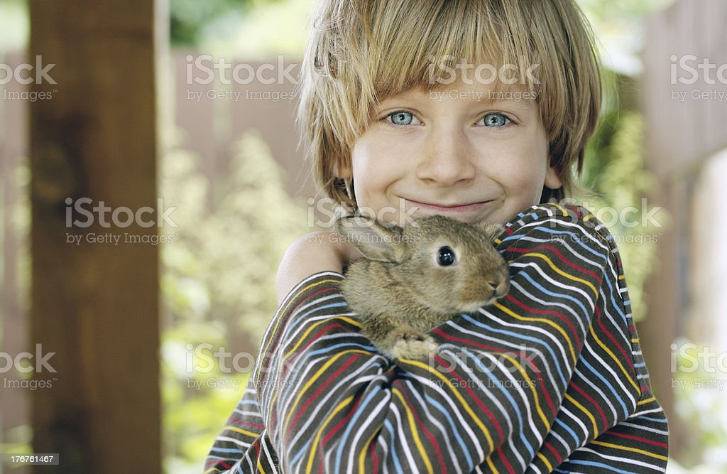 petit garcon et lapin royalty-free stock photo