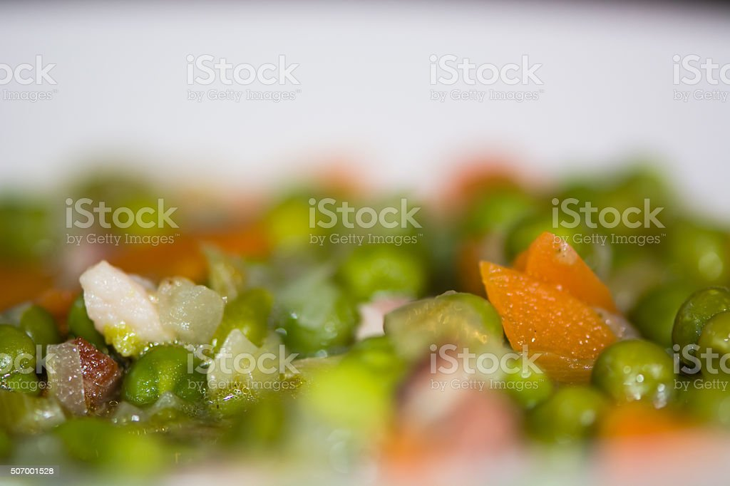 Petit pois a la Francaise looking down, detail of ingredients stock photo