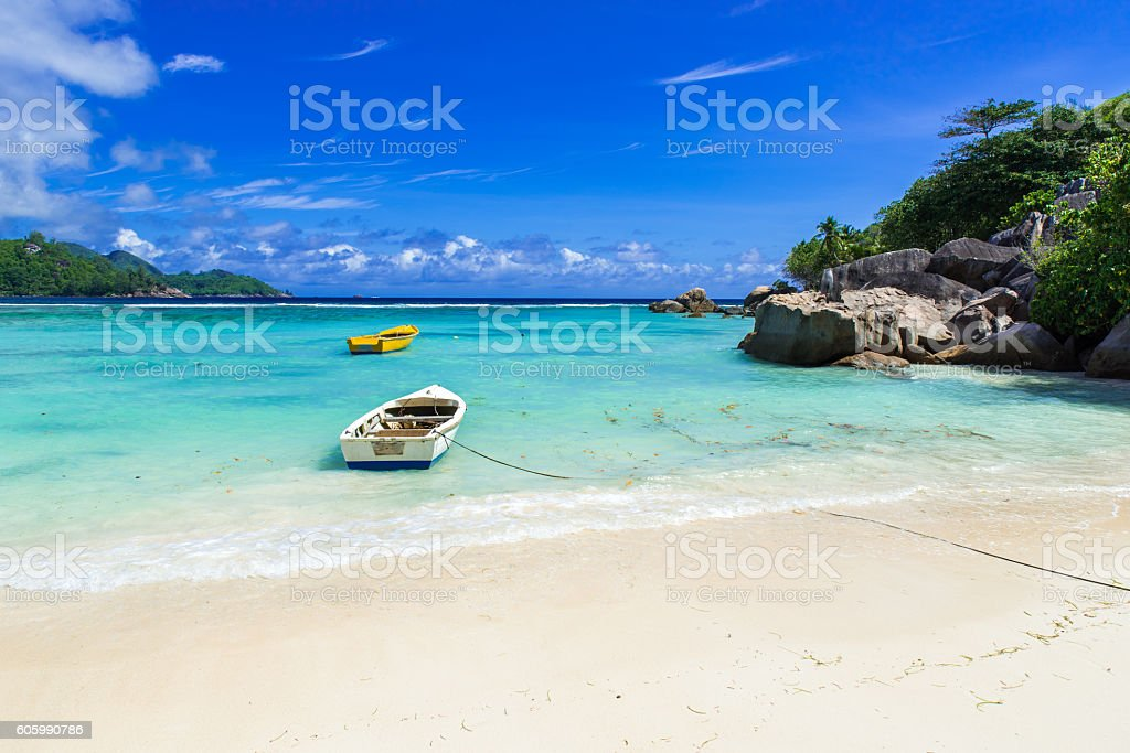 Petite Anse - beautiful beach on island Mahe, Seychelles stock photo