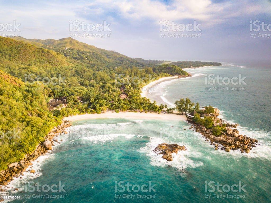 Petite Anse Kerlan Praslin Island Seychelles Aerial View stock photo