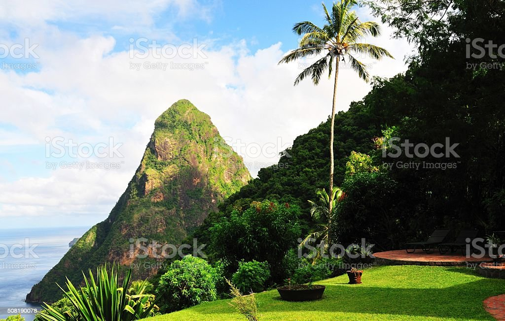 Petite Piton at sea stock photo