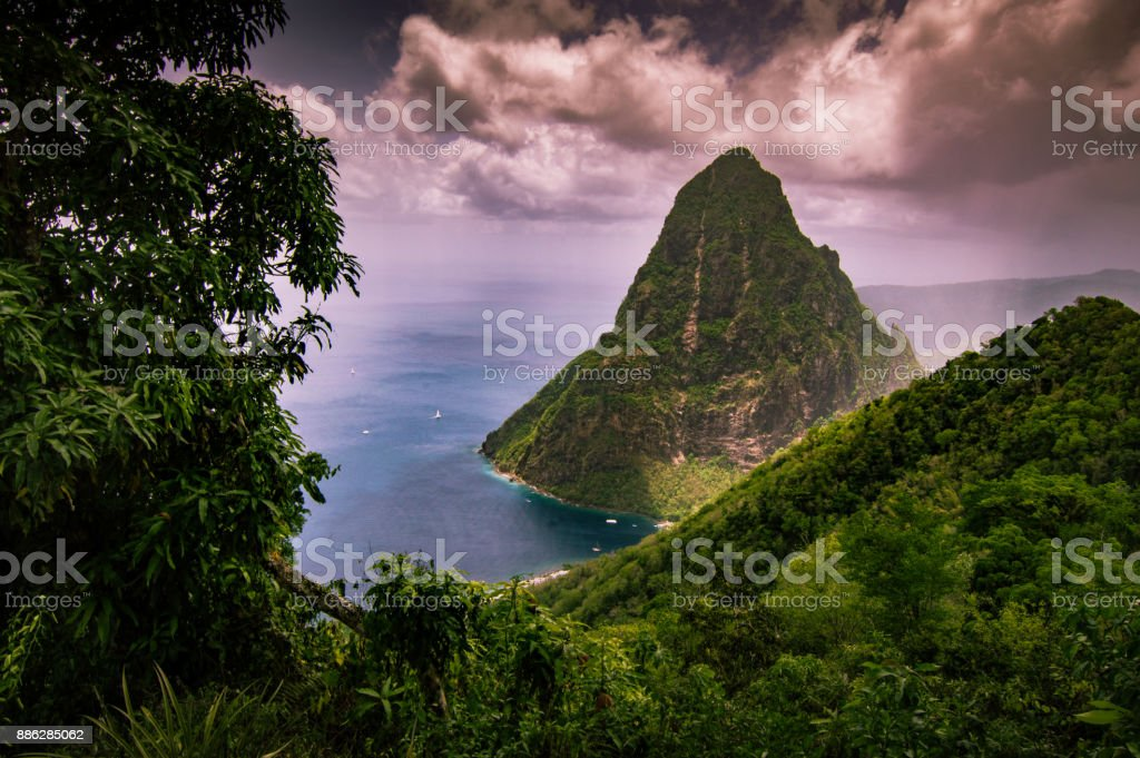 Petite piton in St. Lucia stock photo