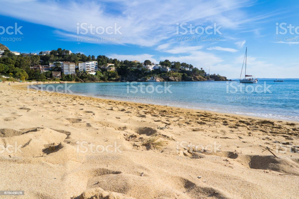 Petites Canyelles Beach in Roses stock photo