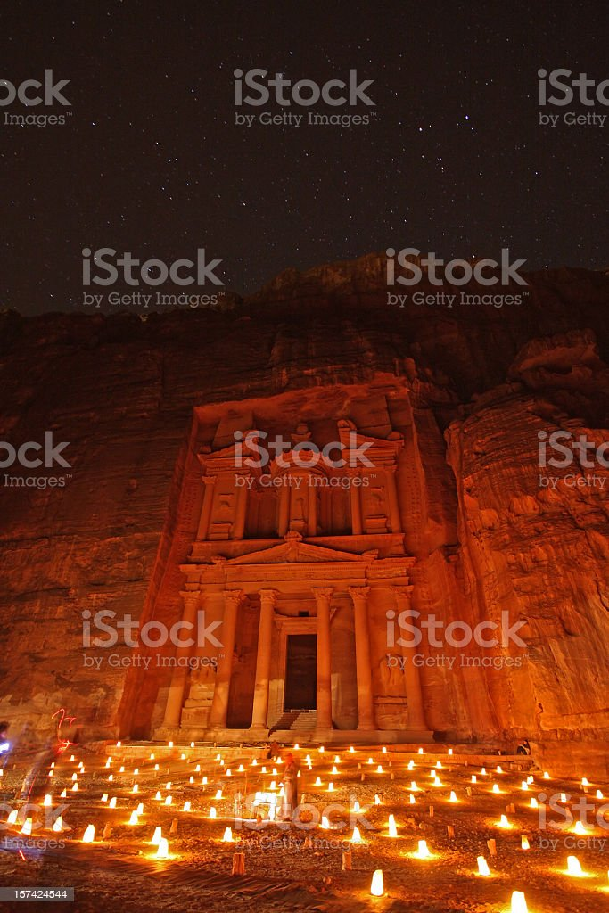 Petra at night stock photo