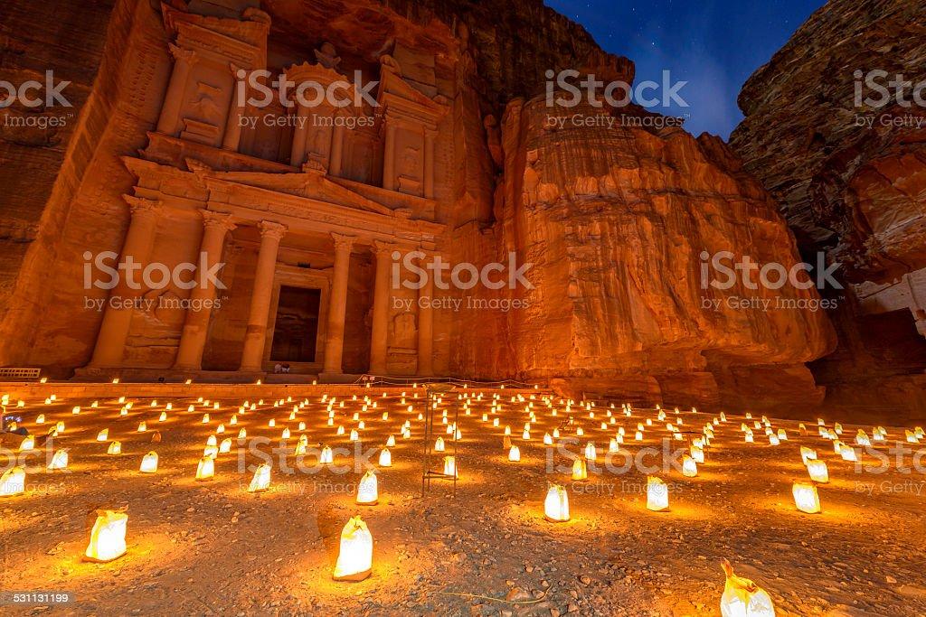 Petra by Night in Jordan. stock photo