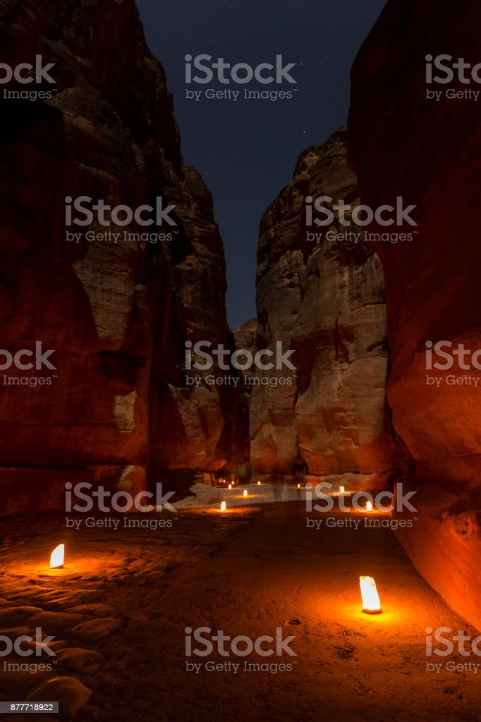 Petra By Night. Narrow gorge of the Siq stock photo