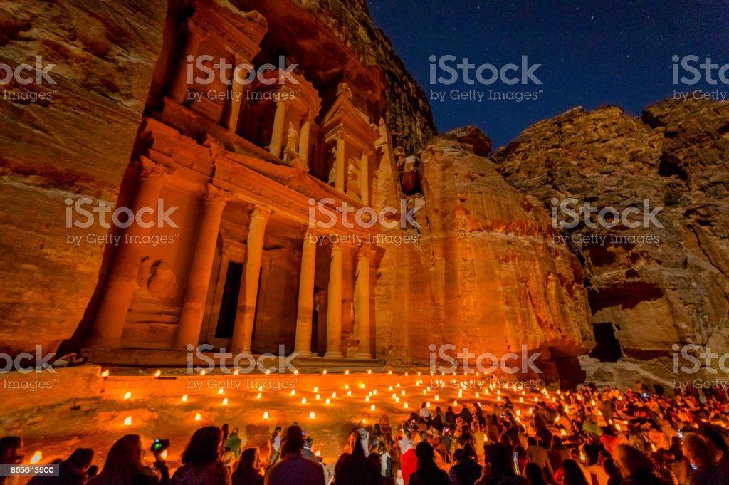 Petra by Night The Treasury of the mystic Petra City at Night in Jordan Ancient Stock Photo
