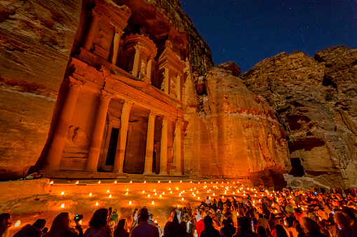 Petra By Night Stock Photo - Download Image Now