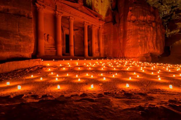 Petra by Night stock photo