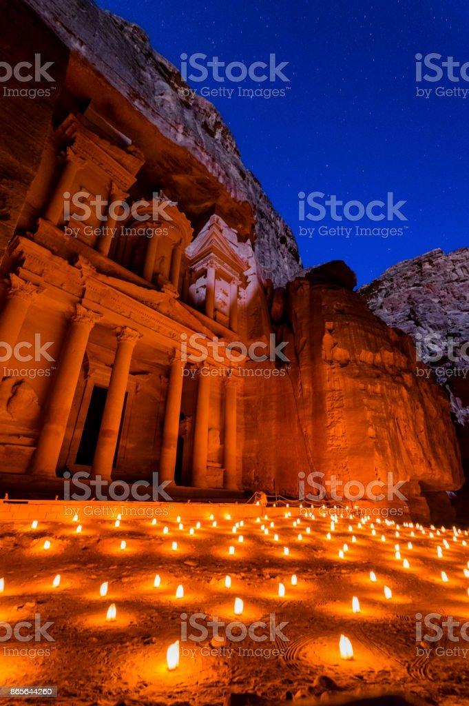 Petra tarafından gece stok fotoğrafı
