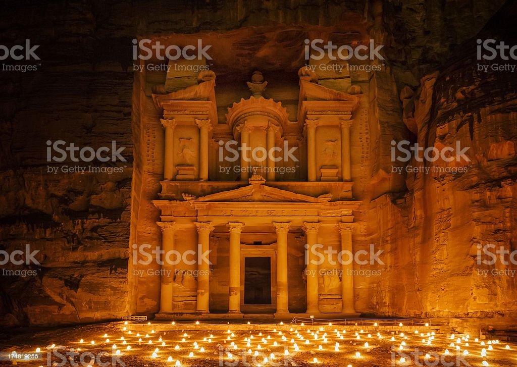 Petra by Night - The Treasury royalty-free stock photo