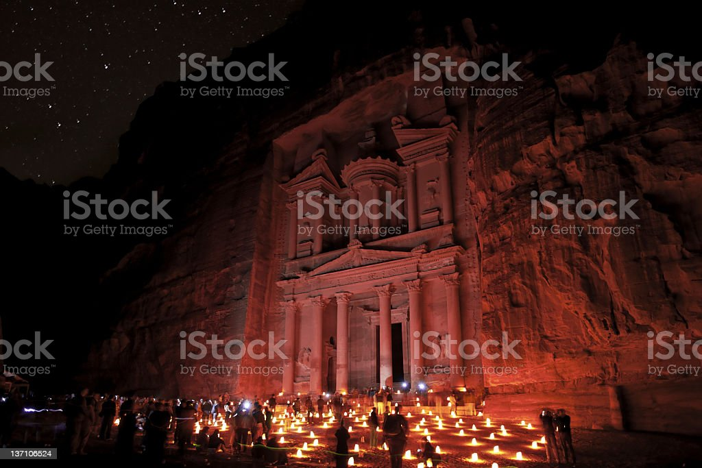 Petra historical sight by night stock photo