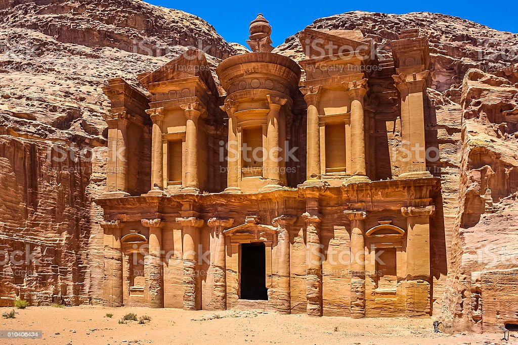 Petra Jordan Ad Deir Facade stock photo