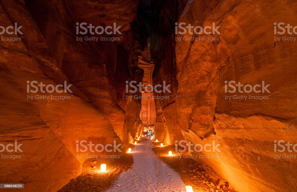 Petra, Jordan at Night stock photo